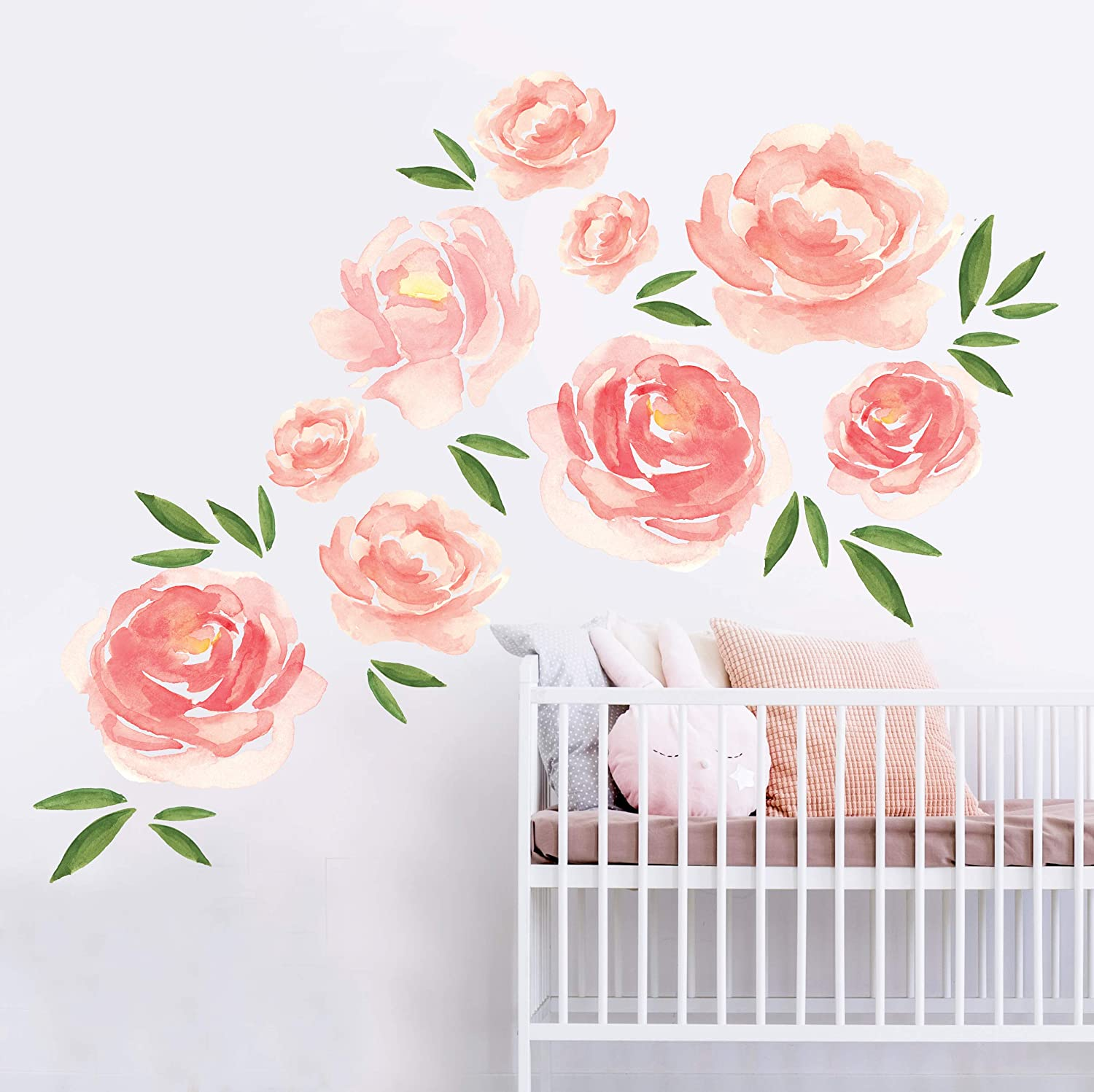 Better than paint permanent wall decor applies like decals no vinyl stickers 11 pink peony flowers for walls nursery decor and diy room decorations