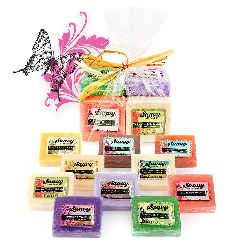 Saavy Naturals Organic Soap Bar Set Square Shape 10 Pack 1.2oz