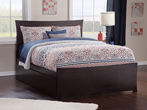 Atlantic Furniture AR9046111 Metro Platform Bed with Matching Foot Board and 2 Urban Bed Drawers, Queen, Espresso