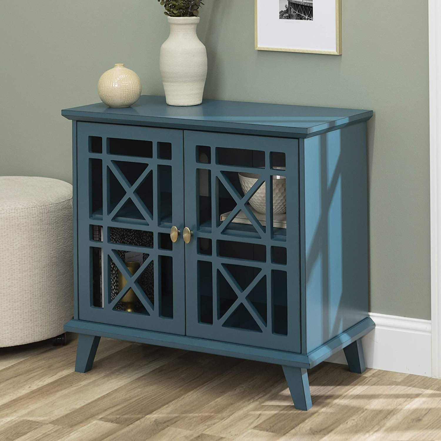 Walker Edison Furniture Company Wood Accent Buffet Sideboard Serving Storage Cabinet with Doors Entryway Kitchen Dining Console Living Room, 32 Inch, Blue: Kitchen & Dining