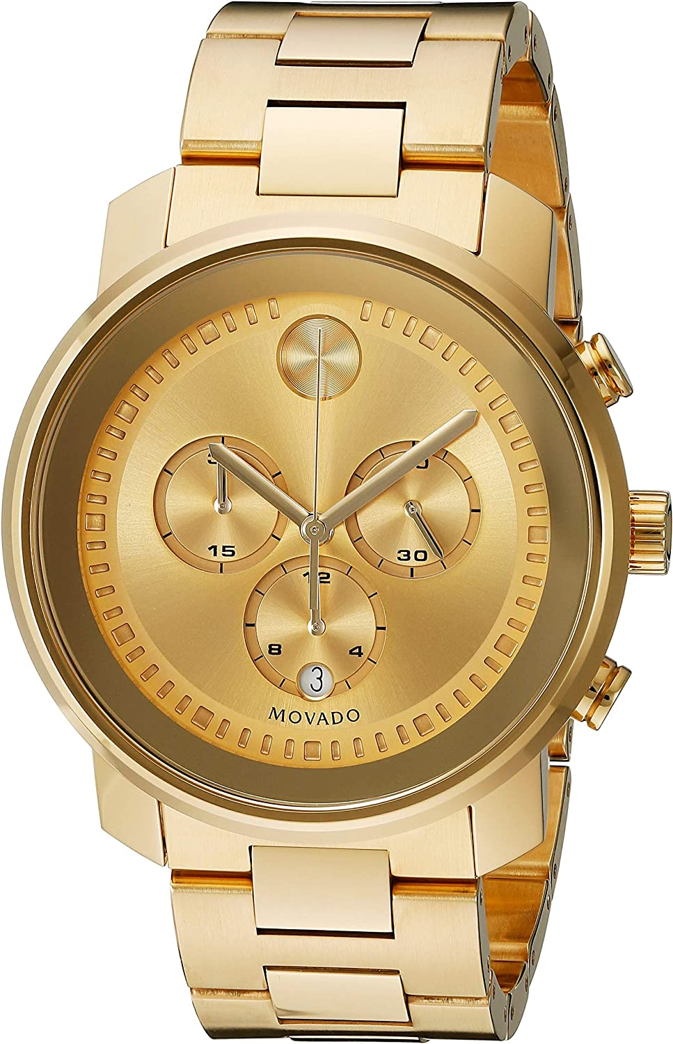 Amazon.com: Movado Men's BOLD Metals Chronograph Watch with a Printed Index  Dial, Gold (Model 3600278): Watches