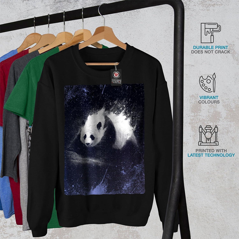 wellcoda Space Lazy Panda Animal Mens Sweatshirt Wild Casual Jumper