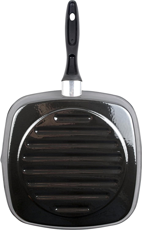 Magefesa Glass Asador Cuadrado Alto 28cm De Acero Vitrificado Exterior Negro Cristal Antiadherente Bicapa Reforzado Apto Para Todo Tipo De Cocinas Especial Inducción 50 De Ahorro Energético Amazon Es Hogar