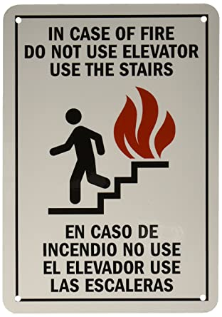 smartsign aluminum sign legend in case of fire do not use elevator