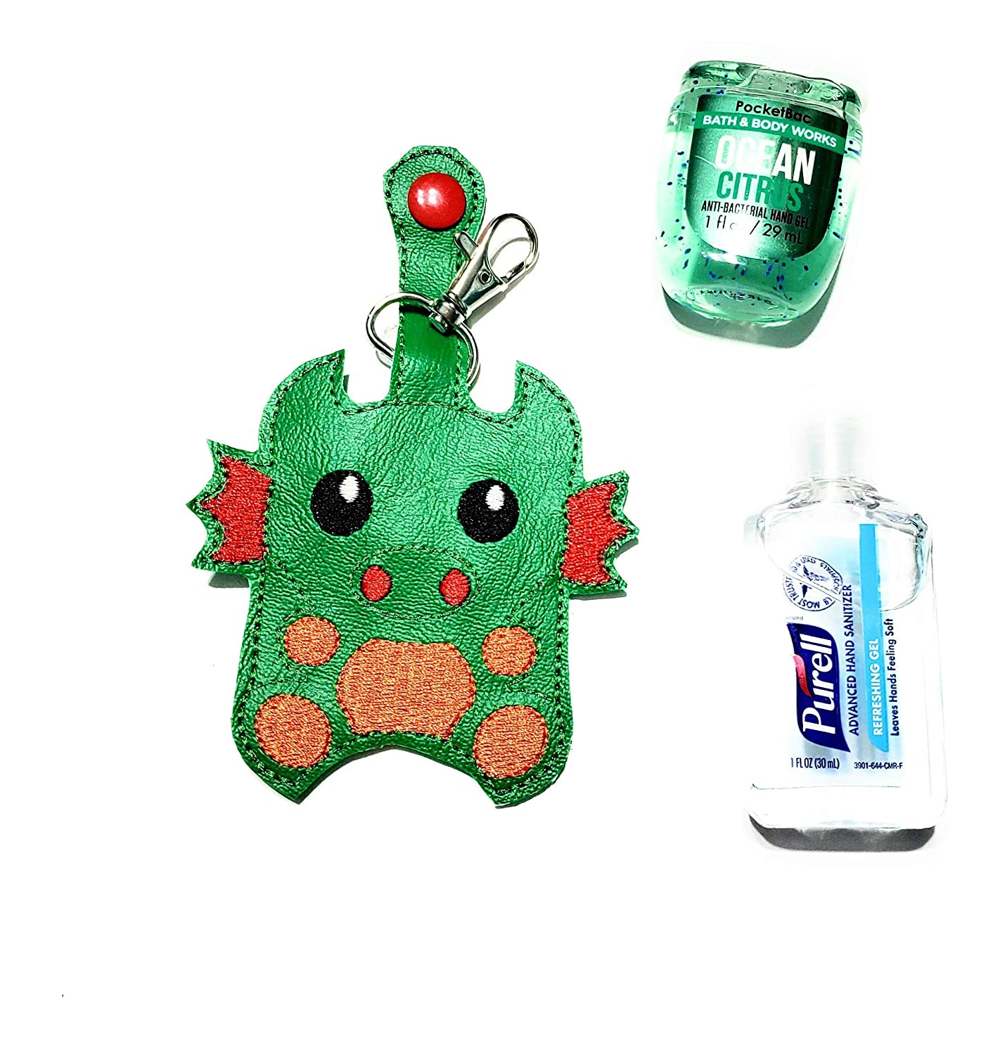 1 oz Purell and most other 1 oz sanitizers Dragon hand sanitizer case Will fit 1 oz Bath and Body