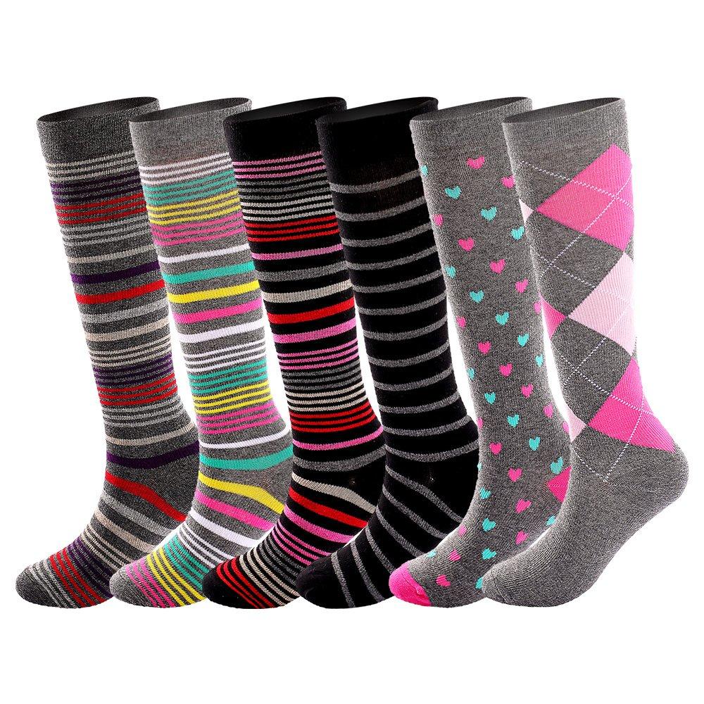 Running Cotton Compression Socks for Women& Men15-20mmhg Graduated 6 Pair Value Pack Knee High Nursing Socks, Maternity SocksA601