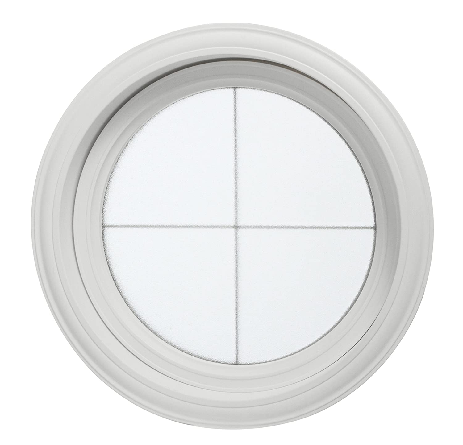 Park Ridge Vinyl Round Fixed Window with Platinum Cross & Obscure Glass, 24.5' x 24.5'