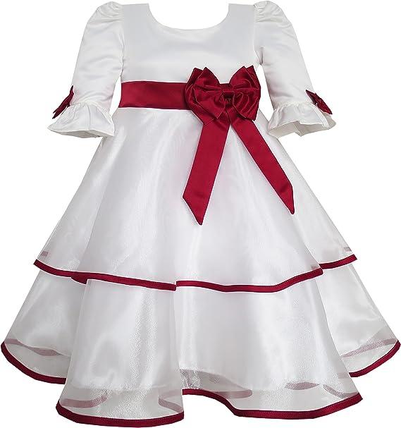 Sunny Fashion Vestido para niña Rojo Rosa Corbata de moño Encaje ...