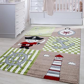 Kinder Teppiche Für Kinderzimmer, Babyzimmer, Spielteppich Pirat Motiv  Kariert, Multi Farben Beige Grün