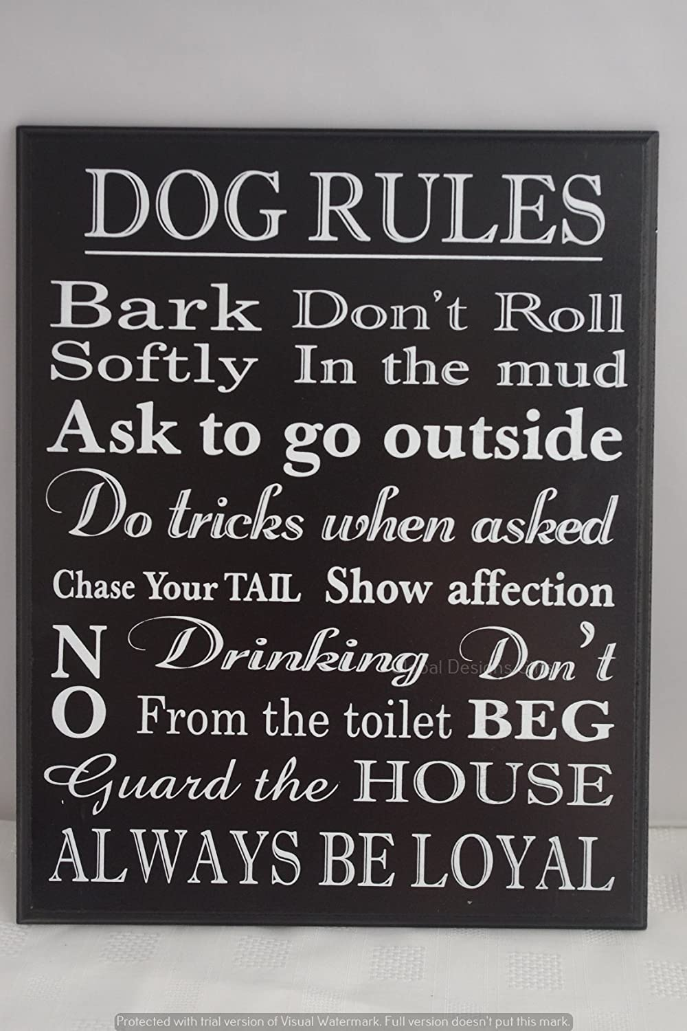 Dog Rules Wooden Sign Plaque Funny Quotes Meme Black Ex Large