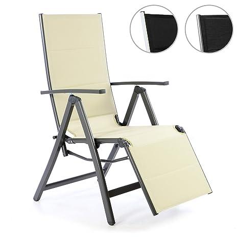 Nexos, sedia sdraio deluxe in alluminio, color crema, sedia ...