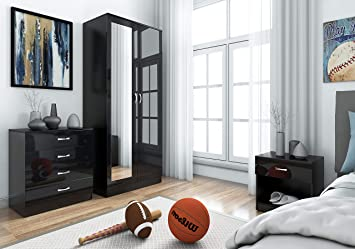 Fine Mirrored High Gloss 3 Piece Bedroom Furniture Set Soft Close Wardrobe 4 Drawer Chest Bedside Cabinet Black On Black Download Free Architecture Designs Rallybritishbridgeorg