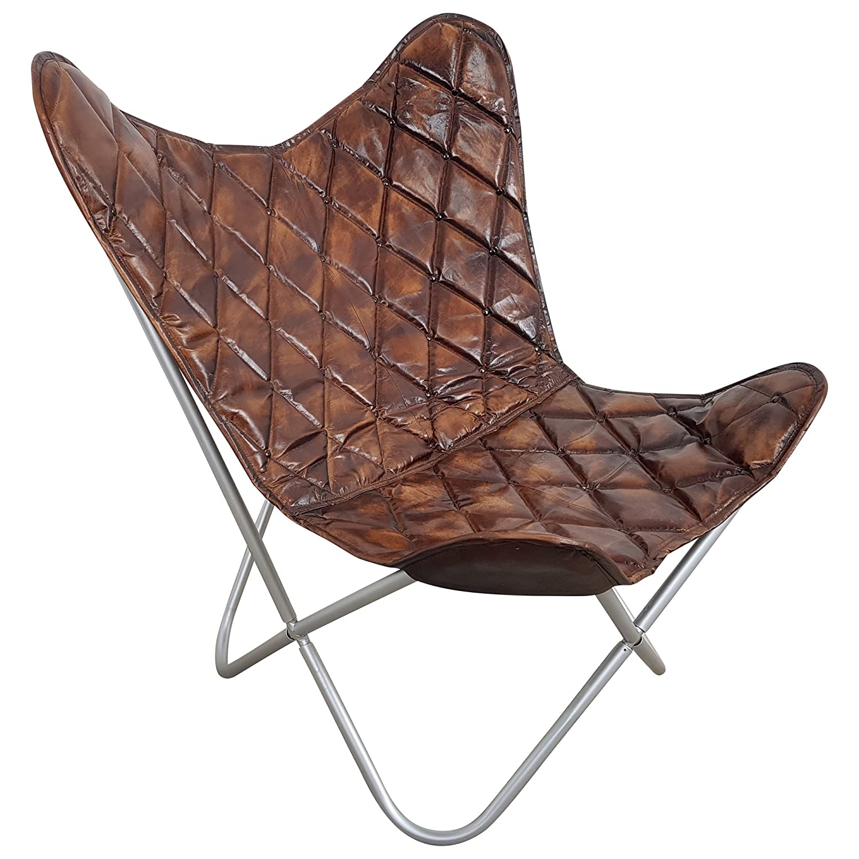 Indoortrend  Butterfly Chair Sessel Design Lounge Stuhl Stuhl Stuhl Vintage echt Leder braun Loungesessel fdcbbe