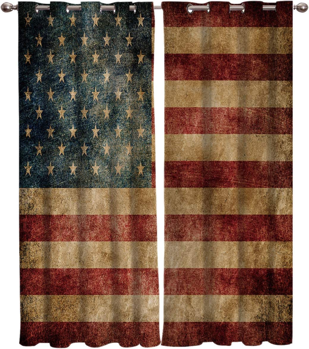 Window Curtain Vintage Retro American Flag Home Decor Draperies 2 Panels Set for Living Room Bedroom USA Stripes and Stars 52 96in 2