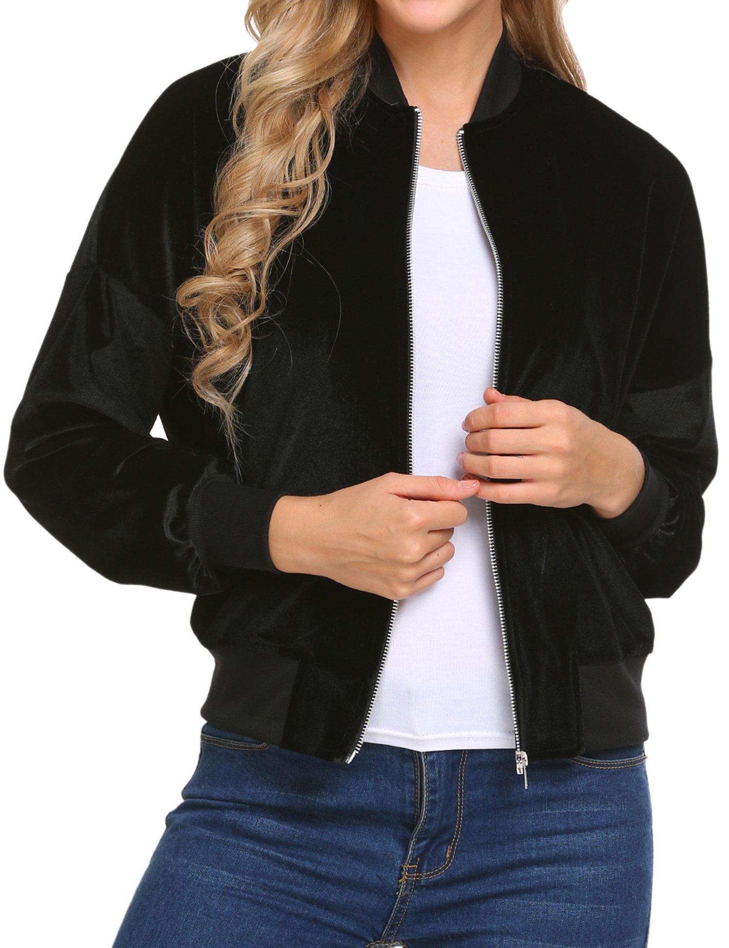Beyove Women's Lightweight Velvet Coat Hooded Active Outdoor Windbreaker Jacket Black S by Beyove (Image #3)