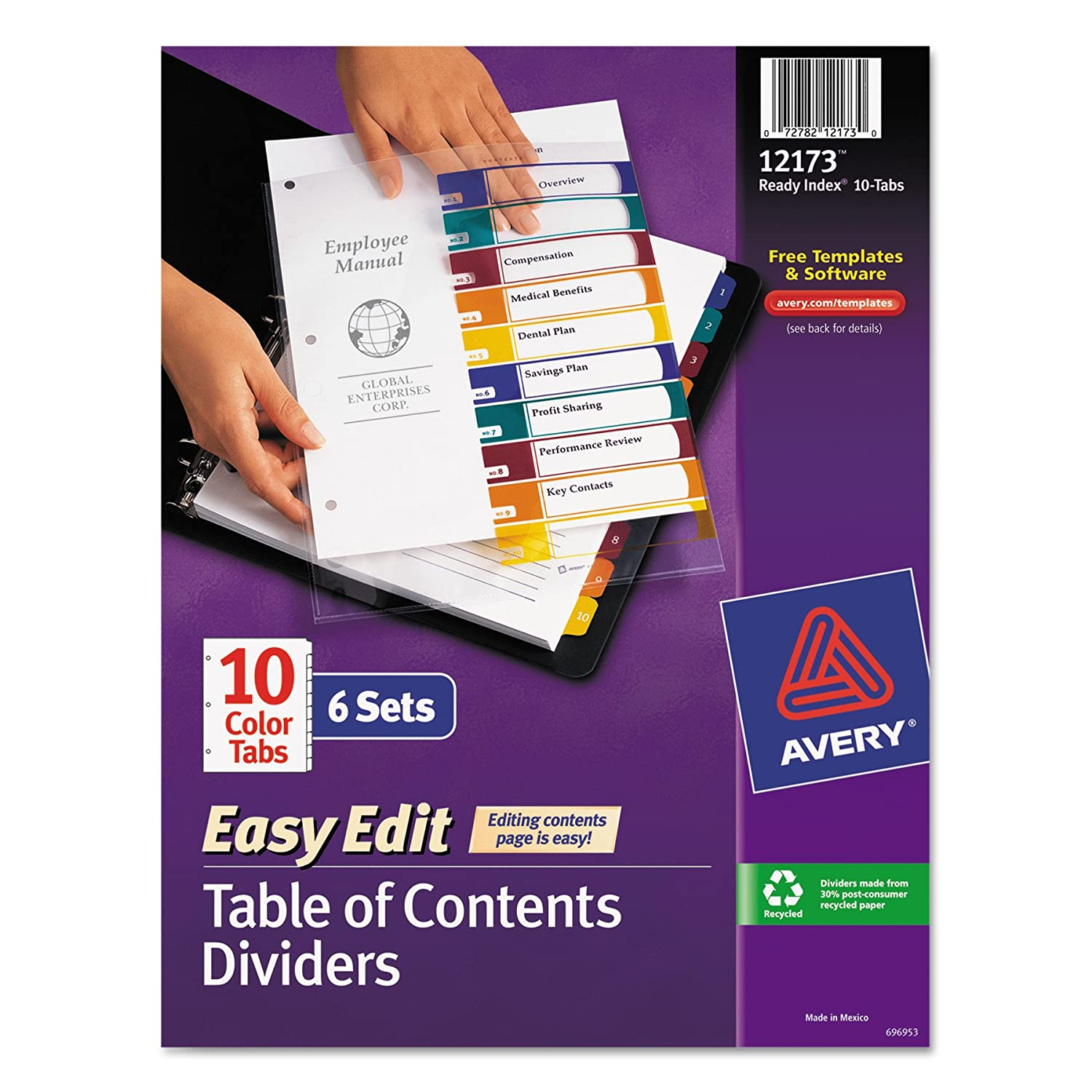 Amazon Avery Ready Index Easy Edit Table Of Contents Dividers 10 Tab 6 Sets 12173 Binder Office Products