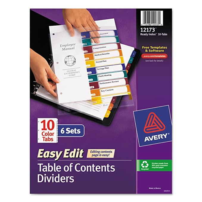 Amazon Avery Ready Index Easy Edit Table Of Contents Dividers