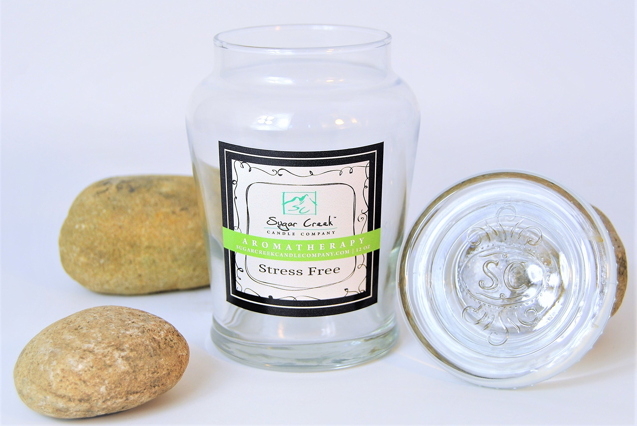 Aromatherapy Soy Wax Scented Candle - Stress Relief (Eucalyptus Mint) | Non Toxic - Essential Oils | 100 Hours Burn Time (16 ounces Limited Edition Glass) | Sugar Creek Candles by Sugar Creek Candles (Image #2)