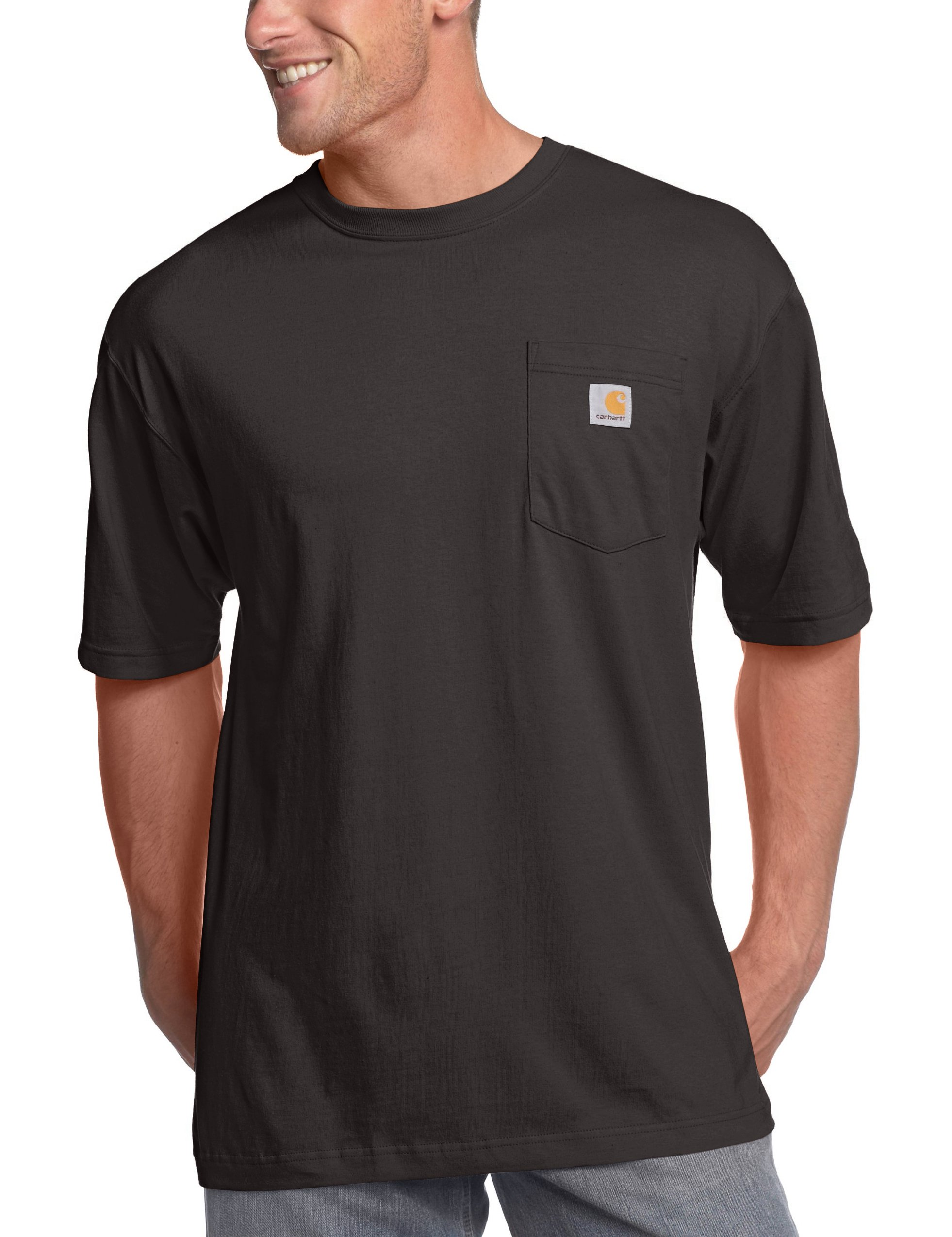 Carhartt Men's Big & Tall Workwear Pocket Short Sleeve T-Shirt Original Fit K87,Black,X-Large Tall
