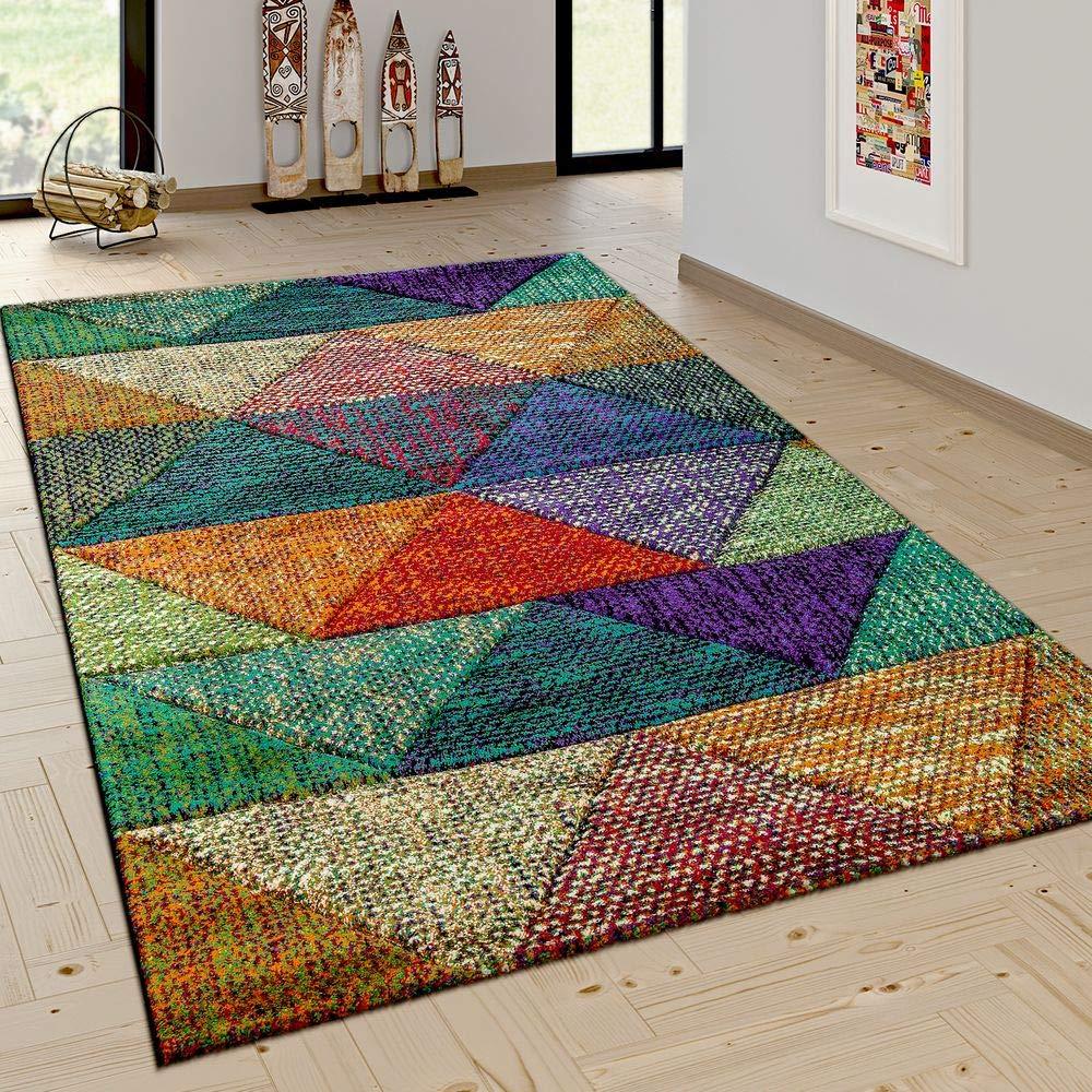 Paco Home Wohnzimmer Teppich Mit Modernen Rauten Mustern Trend Design Mehrfarbig Bunt, Grösse 200x290 cm