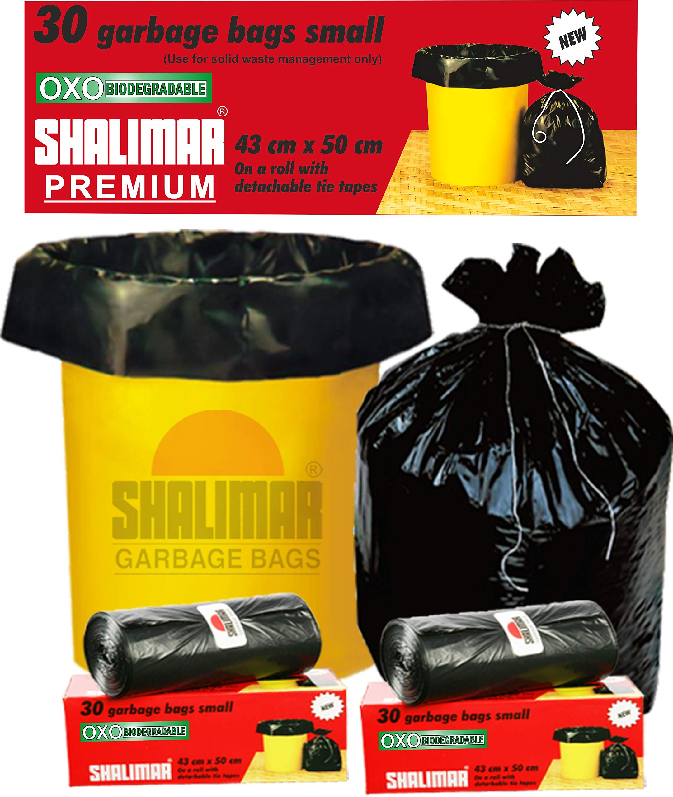 Shalimar Premium OXO - Biodegradable Garbage Bags (Small) Size 43 cm x 51 cm 6 Rolls (180 Bags) ( Black Colour ) product image