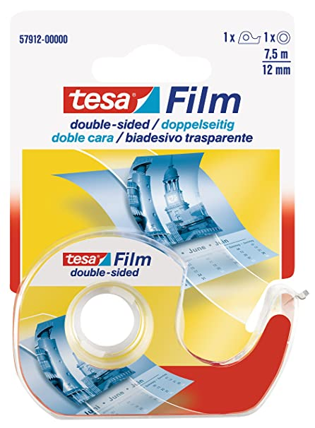 Tesa double sided tape complete with dispenser, 12mm x 7.5m, EACH