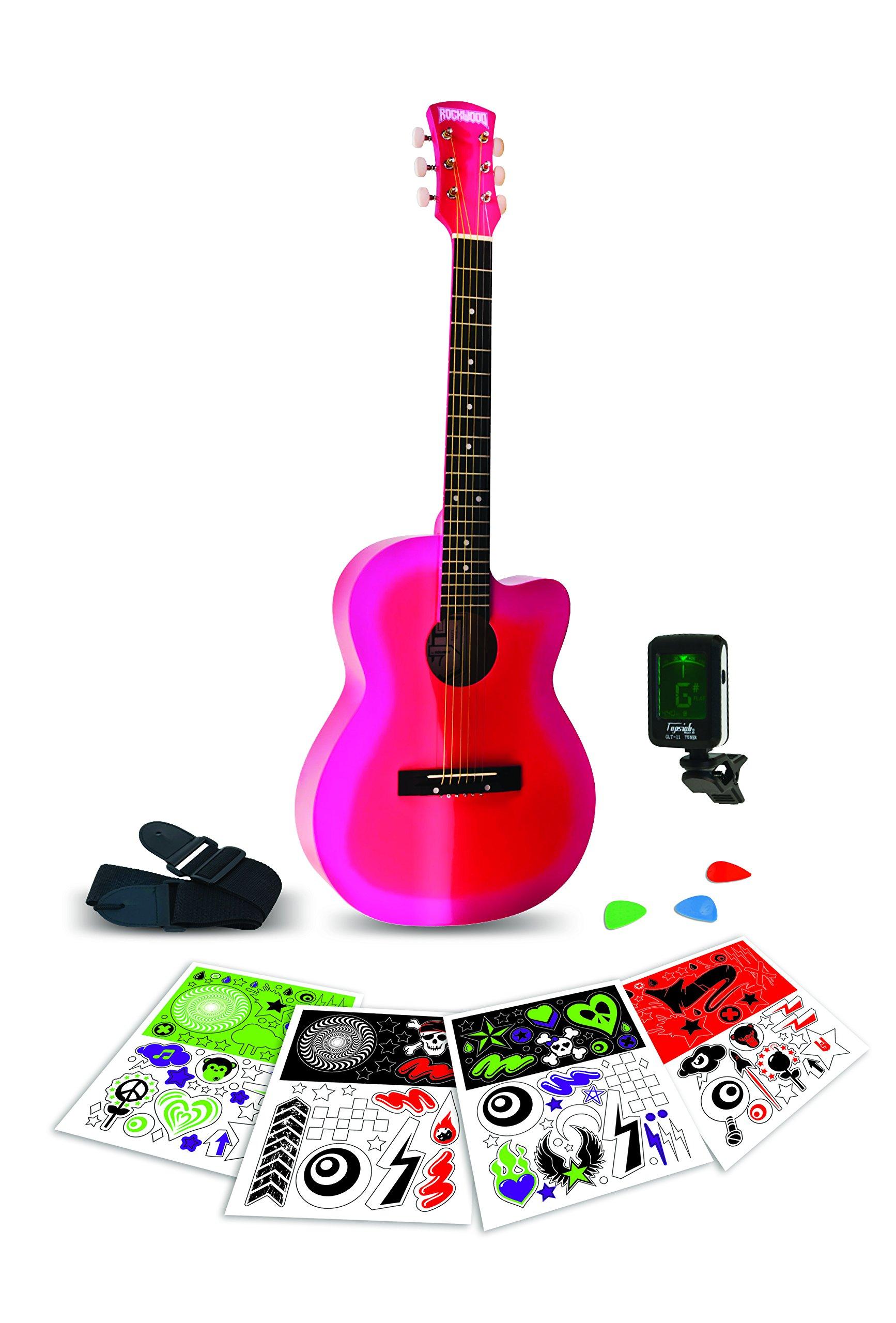 Rockwood Junior Instruments RWAP Pink Burst 3/4 Acoustic Guitar pack