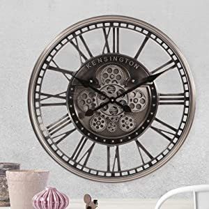 Infinity Time 21Inch Large Decorative Wall Clock with Roman Numerals , Metal Vintage Industrial Oversized Rustic Battery Operated Clocks with Real Moving Gears ,Electroplated Chrome