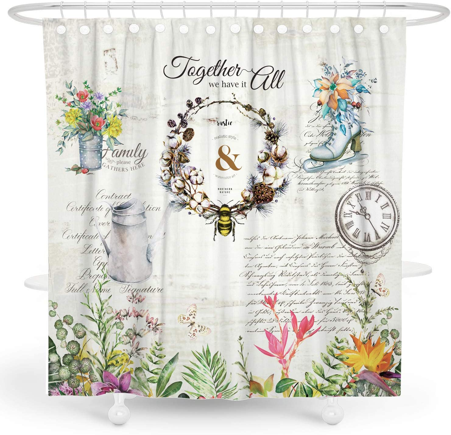DESIHOM Country Shower Curtain Farmhouse Shower Curtain Rustic Shower Curtain Vintage Floral Shower Curtain Farmhouse Style Primitive Shower Curtain Quote Polyester Waterproof Shower Curtain 72x72