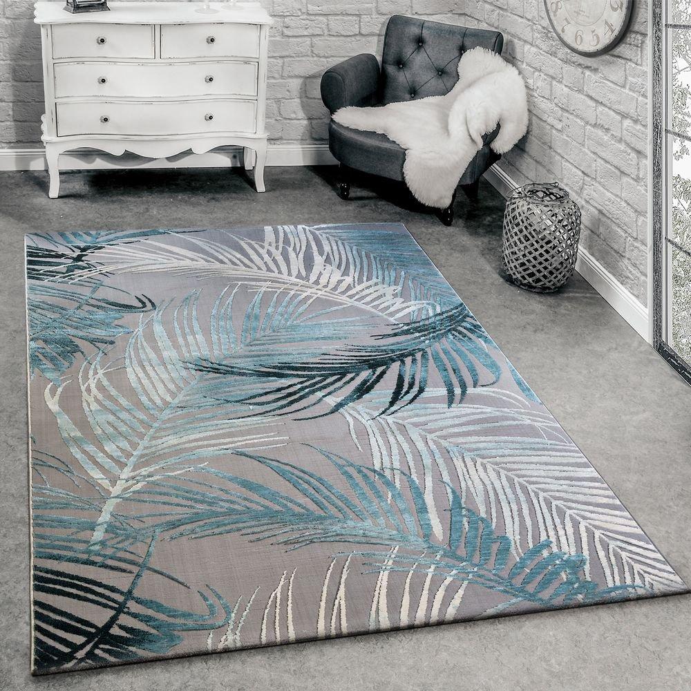 Paco Home Designer Teppich Modern Wohnzimmer Teppiche 3D Palmen Muster In Grau Türkis Creme, Grösse 200x290 cm