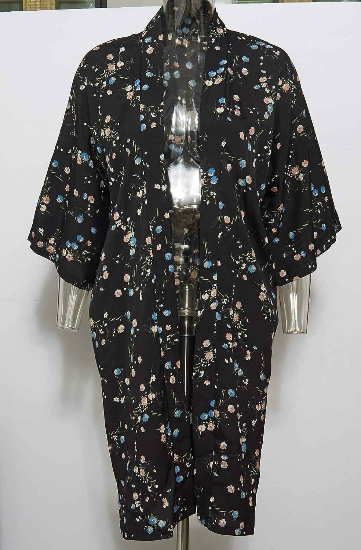 c6e6ca22a Lulla Collection Women's Kimono 100% Viscose Super Soft Fabric (Black  Floral Print 3) at Amazon Women's Clothing store: