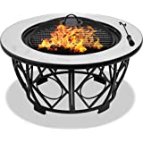 Centurion Supports Fireology NAVARO Opulent 360° Garden & Patio Heater Fire Pit Brazier, Coffee Table, Barbecue and Ice Bucket with Gloss White Ceramic Tiles