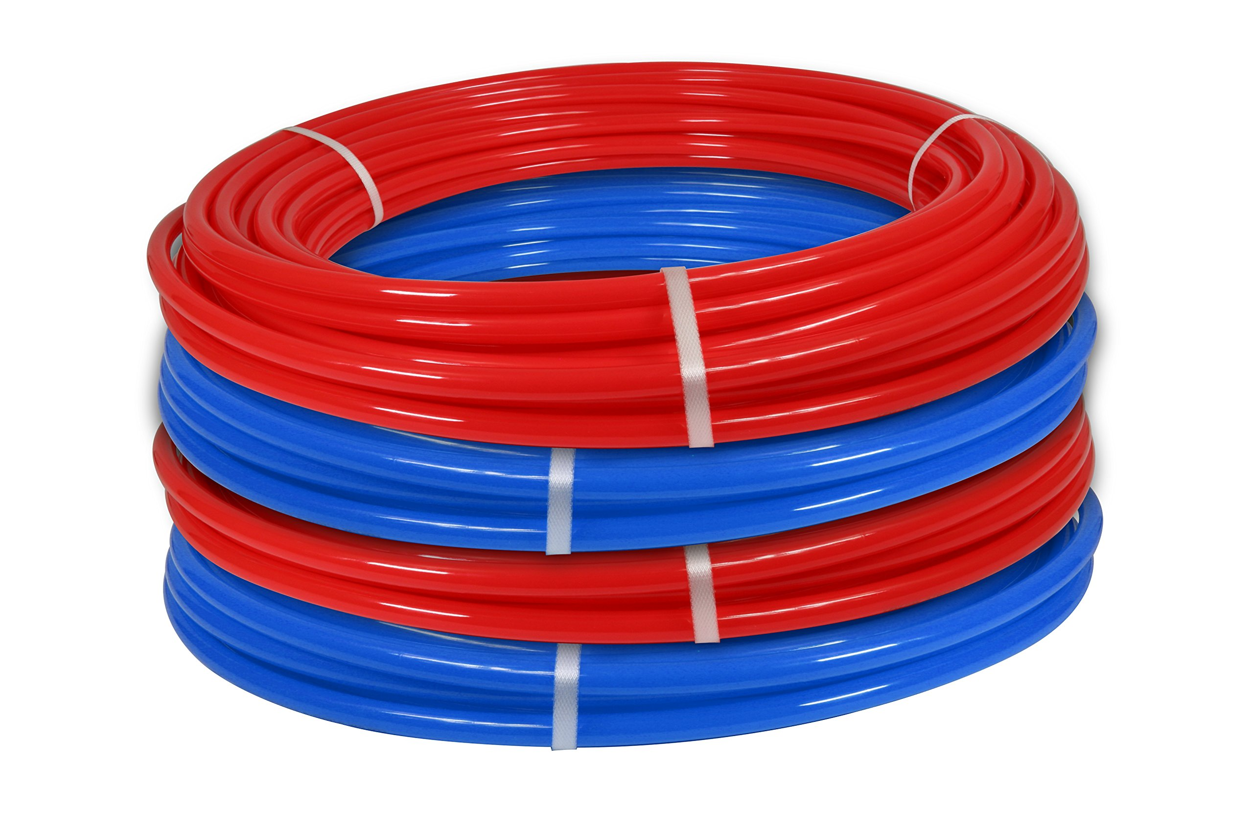 Pexflow PXKT-RB1001234 PEX Potable Water Tubing Combo Non-Barrier Pipe, 1/2 Inch x 100 Feet (Red + Blue) + 3/4 Inch x 100 Feet (Red + Blue)