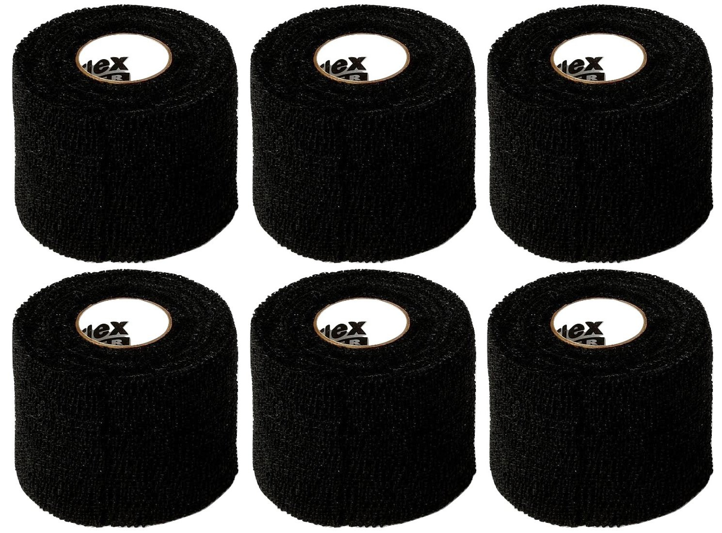 Powerflex 2'' Stretch Athletic Tape - 6 Rolls, Black