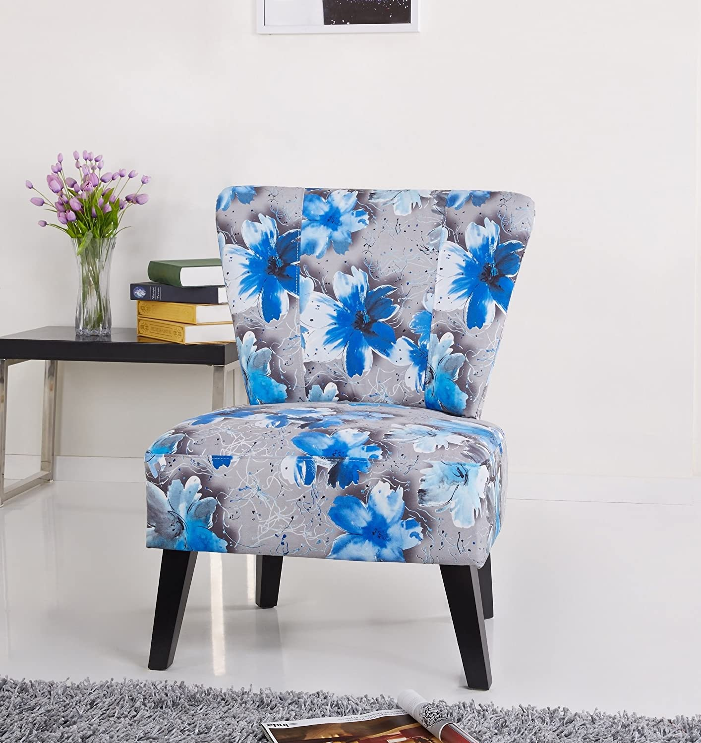 Amazon com us pride furniture cora patterned fabric covered accent chair blue flowers kitchen dining