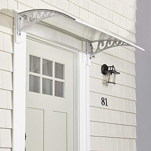 The Lakeside Collection Metal Window Awning Or Front Door Canopy – Sun Shade and Rain Blocker – White