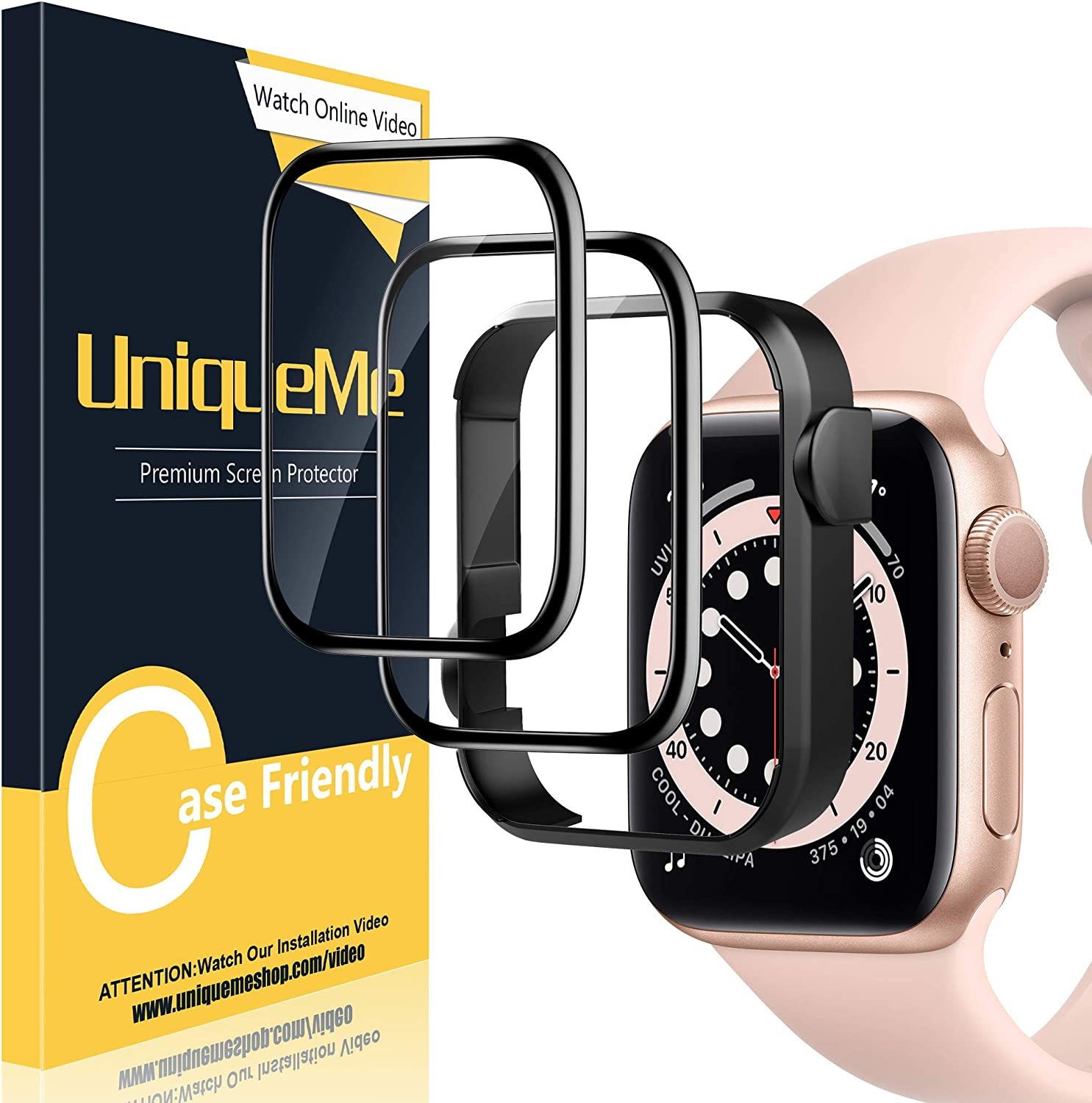 [2 Pack] UniqueMe Screen Protector for Apple Watch Series 1/2 / 3 38mm Tempered Glass with [Easy Installation Frame] for iWatch 38mm Screen Protector[3D Full Coverage][No-Bubble][No White Edge]