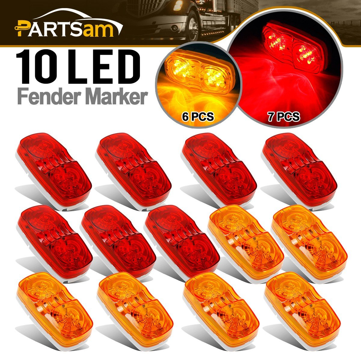 Partsam 13x Trailer Marker LED Light Double Bullseye Amber/Red 10LED Clearance Lights, Double Bullseye LED Trailer Clearance Side Marker Lights, 4x2 Rectangular Rectangle Led Lights, 2 Wire