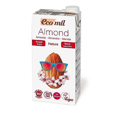 EcoMil Almond Nature, Bebida de almendra Sin azúcar - Pack de 3 unidades de 1L