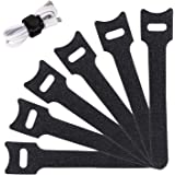 Reusable Cable Ties Management Straps -(20 Piece) 6 Inch Strong &Microfiber fastening cloth, Adjustable Fastener Cable…