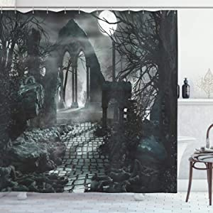 """Ambesonne Gothic Shower Curtain, Full Moon Over Medieval Building Ruins at Night Dark Scary Backdrop Middle Ages Image, Cloth Fabric Bathroom Decor Set with Hooks, 75"""" Long, Blue Grey"""