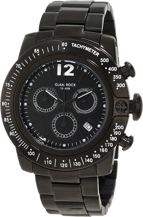 Glam Rock GR32145 - Reloj analógico de Cuarzo Unisex, Correa de Acero Inoxidable Color Negro