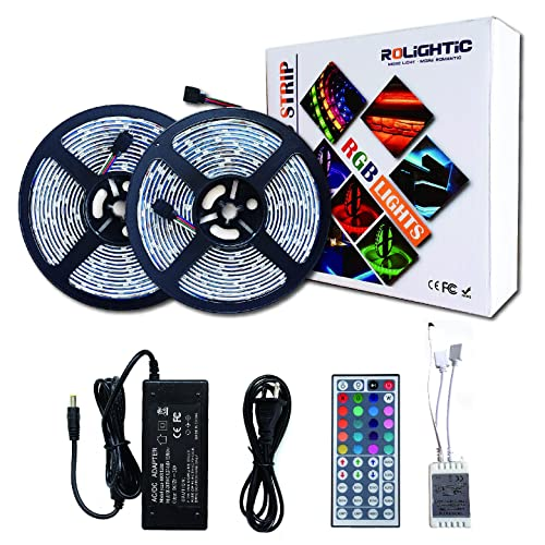 ROLiGHTiC RGB Led Light Strip Kit,32.8ft (10M) 5050 300LEDs,DC