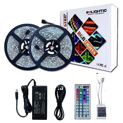 amazon com rolightic rgb led light strip kit 32 8ft 10m 5050 rh amazon com