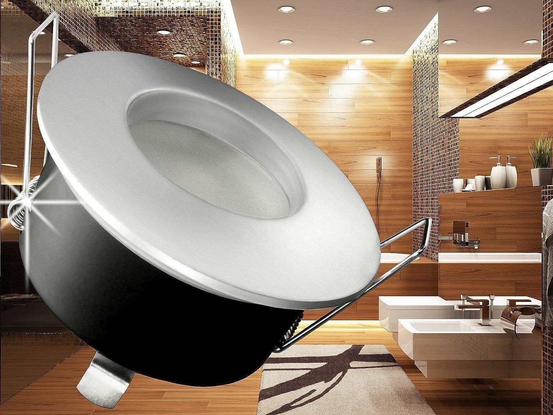 LED Einbau Strahler Für Bad, Feuchtraum IP65, Einbau Leuchte RW 1  Chrom Matt Rund, 6W COB Warm Weiß, GU10 230V: Amazon.de: Beleuchtung