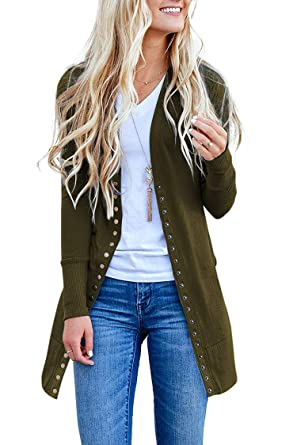 b9a5571261 SALENT Women s Fall Snap Button Down Knitwears Casual Cardigans Coat Army  Green
