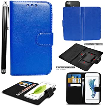 hot sale online 6206b 98c35 Mobile Stuff case for Argos 5 Inch cover pouch Leather Hold it Spring Clamp  Clip on Adjustable Book + Stylus Pen (Argos Alba 5 Inch, Plain Blue Book)
