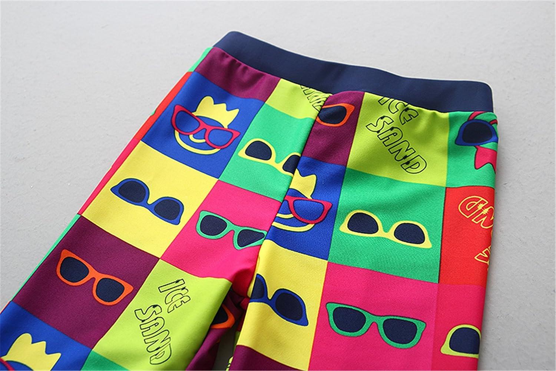 Baby Kids Boys 2 Pieces Long Sleeve Sun Protection Cartoon U V Rash Guard UPF 50 UV Swimsuit with Caps Swimwear