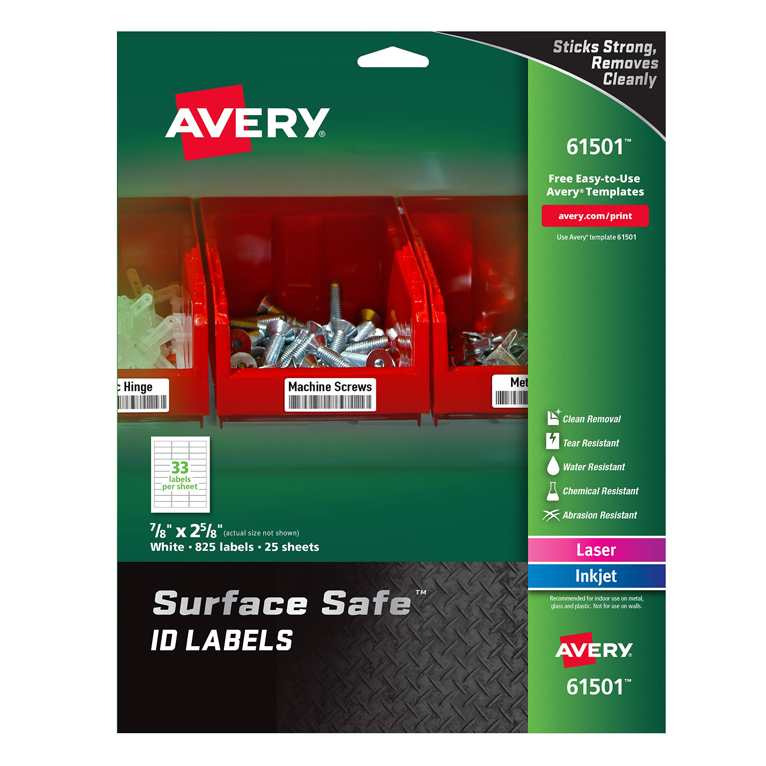 Avery Surface Safe Durable ID Labels, Removable Adhesive, Water Resistant, 7/8'' x 2-5/8'', 825 Labels (61501) by AVERY