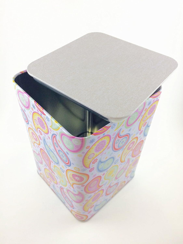 ARTEBENE - Juego de 2 cajas metálicas decoradas con ilustraciones caprichosas. La caja pequeña se encaja en la caja grande y es posible ahorrar espacio ...